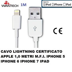 CAVO LIGHTNING CERTIFICATO MFI APPLE 1,0 METRI IPHONE5 IPHONE 6/7 IPAD