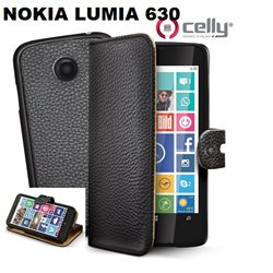 CELLY cover Nokia Lumia 630 a portafoglio nera con cover staccabile