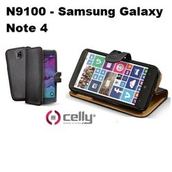 CELLY custodia Samsung Galaxy Note 4 - N9100 a portafoglio nera con cover staccabile in ecopelle nera