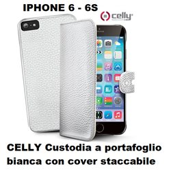 CELLY Custodia iPHONE 6 6S a portafoglio bianca con cover staccabile in ecopelle