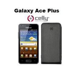 CELLY Custodia dedicata per Galaxy Ace Plus S7500 in ecopelle nera scocca in plastica rigida
