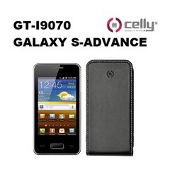 CELLY custodia GT-I9070 GALAXY S-ADVANCE in ecopelle nera dotata di scocca in plastica rigida