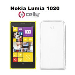 CELLY cover Nokia Lumia 1020 in ecopelle bianca dotata di scocca in plastica rigida