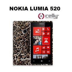 CELLY cover Lumia 520 in TPU marrone con texture animalier