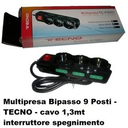 Multipresa Bipasso 9 Posti - TECNO TC-MP01 - 26.02 1,3mt