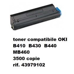toner compatibile OKI B410 B430 B440 MB460 nero 3500 copie rif. 43979102