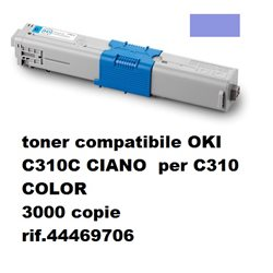 toner compatibile OKI C310C CIANO per C310 COLOR 3000 copie rif.44469706