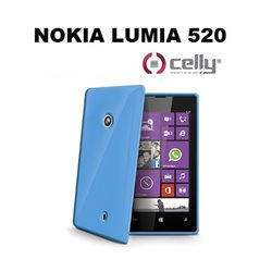 CELLY cover Nokia Lumia 520 in TPU azzurro fluo lucido