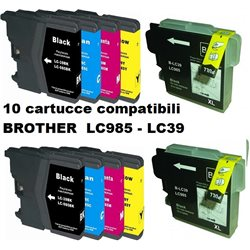 Multipack 10 cartucce compatibili BROTHER LC985 - LC39 per J125-J140W-J315W-615W-J220-J410-J265W-J415W-J515W