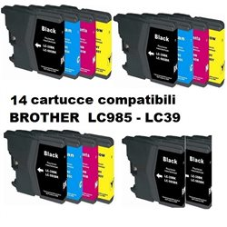 Multipack 14 cartucce compatibili BROTHER LC985 - LC39 per J125-J140W-J315W-615W-J220-J410-J265W-J415W-J515W