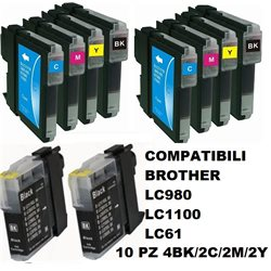 Multipack 10 cartucce compatibili BROTHER LC980 LC1100 LC61