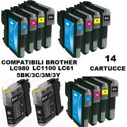 Multipack 14 cartucce compatibili BROTHER LC980 LC1100 LC61